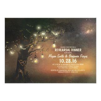 Árvore das luzes & jantar de ensaio rústico dos convite 12.7 x 17.78cm