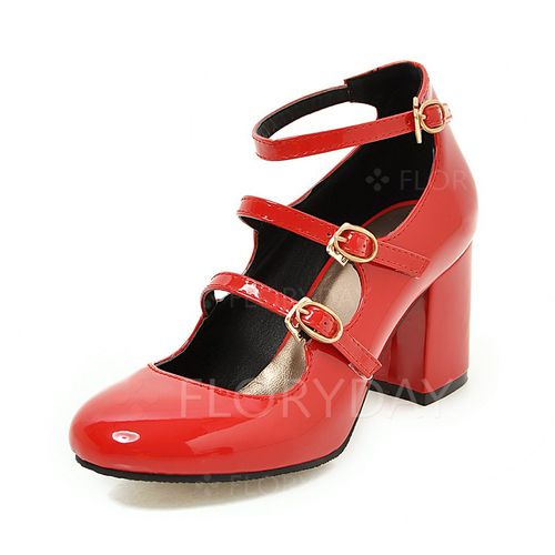 Shoes - $48.53 - Women's Pumps Closed Toe Heels Chunky Heel Patent Leather Shoes (1625126253)