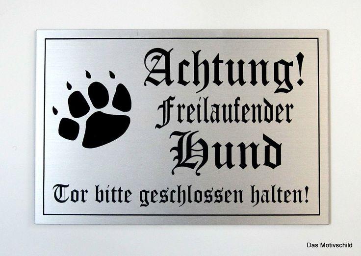 Achtung freilaufender Hund,Gravurschild,12 x 8 cm,Hundeschild,Warnschild,Neu •…