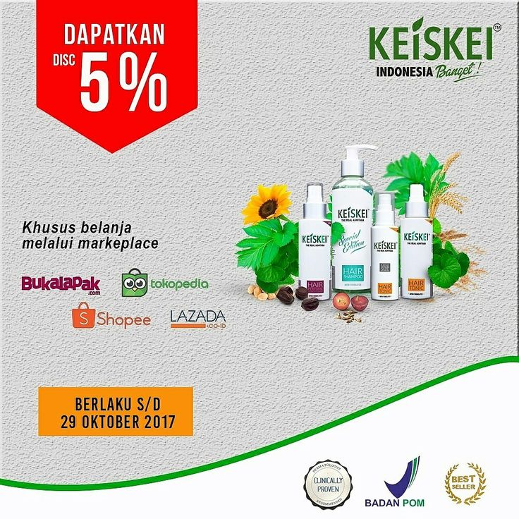 PROMO DISKON MASIH ADA !!! Dapatkan diskon 5% Khusus pembelian produk dan paket KEISKEI melalui marketplace. Jangan Lewatkan kesempatan bagus ini,, saatnya anda merasakan betapa bahagianya punya rambut sehat bebas masalah kebotakan.  Tentu saja Cukup satu Solusinya Gunakan KEISKEI Penumbuh rambut Pertama di Indonesia dengan Nano Teknologi dan extract Ashitaba Organic Terbukti 10 Kali Lebih Cepat merangsang Pertumbuhan rambut Baru.  Buktikan Sendiri,, setetes Keajaiban Keiskei membuat rambut…