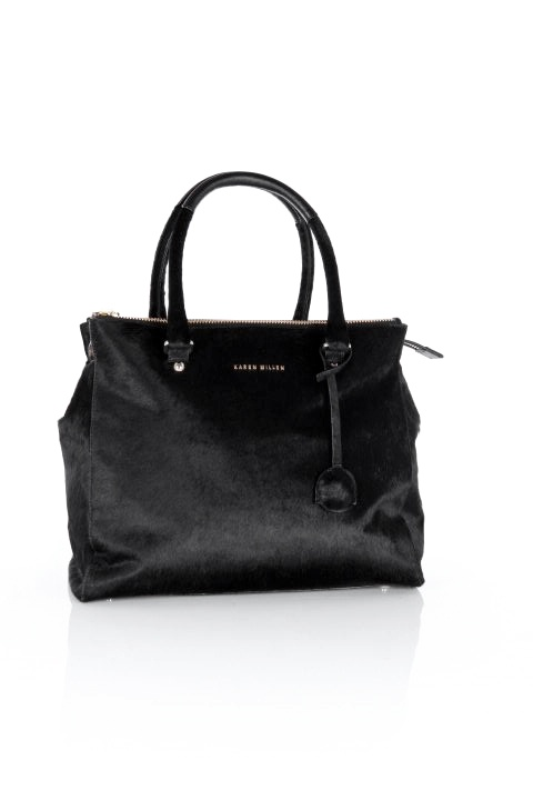 LARGE PONY TOTE  Large pony tote with multi zip pocket, feature key fob and Karen Millen branded metal work, sized 35 x 28 x 16cm. PRICE: £250.00