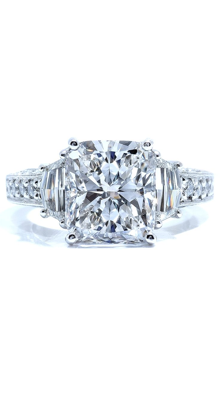 A Cushion Cut Diamond And Custom Cut Side Stones Make This Beautiful Three  Stone Diamond Ring