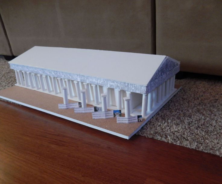 I've always been kind of interested in ancient Greek architecture, so one day while I was bored, I decided to make a to-scale model of the Parthenon in Greece. This proved to be actually quite simple, only cutting out different sized rectangles, and gluing some painted wooden dowels in, and presto! you have the Parthenon! In case you didn't know, the ancient Greeks contributed a lot to our modern day architecture, like columns and friezes, and even invented porches. Ok, enough of the…