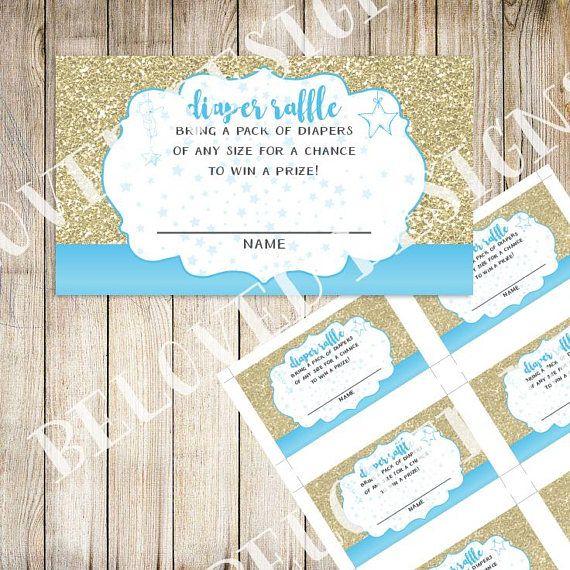 Twinkle Twinkle Little Star  Diaper Raffle Printable  Blue &