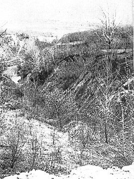 Babi Yar, a ravine at the outskirts of Kiev. On September 29 - 30, 1941, more than 30,000 Jews were killed by machine gun at the hands of an SS mobile killing unit and Ukrainian volunteers. The ravine continued to be used for the execution of civilians and of Russian prisoners of war. At the end of the German occupation, Babi Yar had become a mass grave for over 100,000 people.