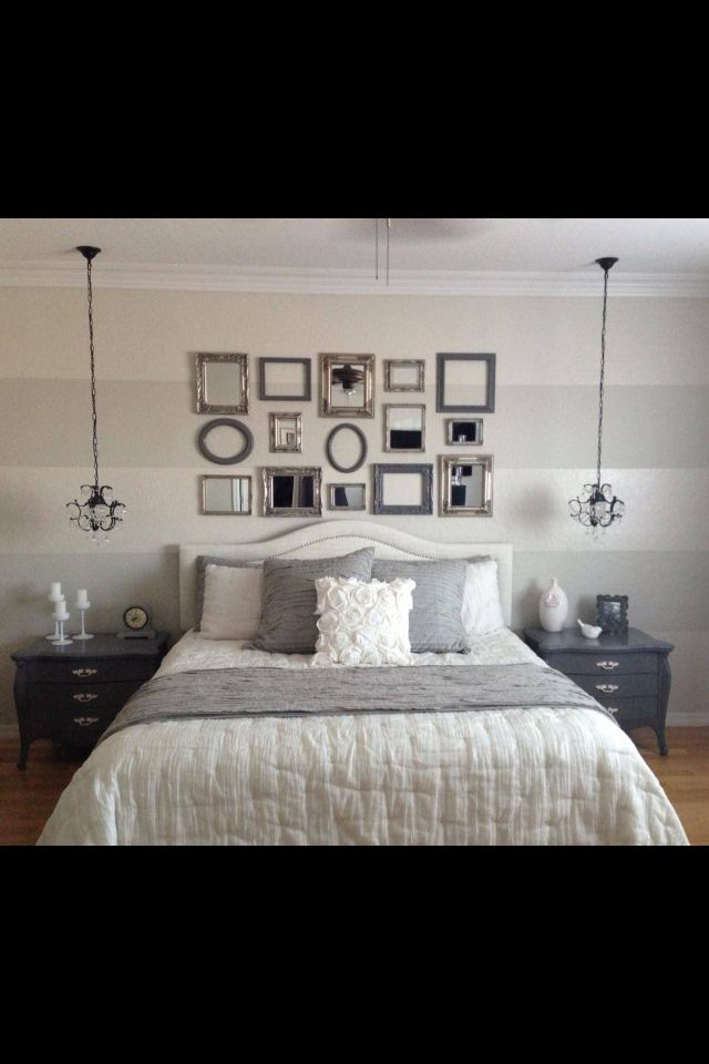 Love this grey and white romantic modern bedroom!