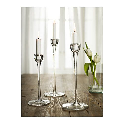 BLOMSTER Candlestick, set of 3 IKEA Mouth blown; each candle holder is shaped by a skilled craftsman.
