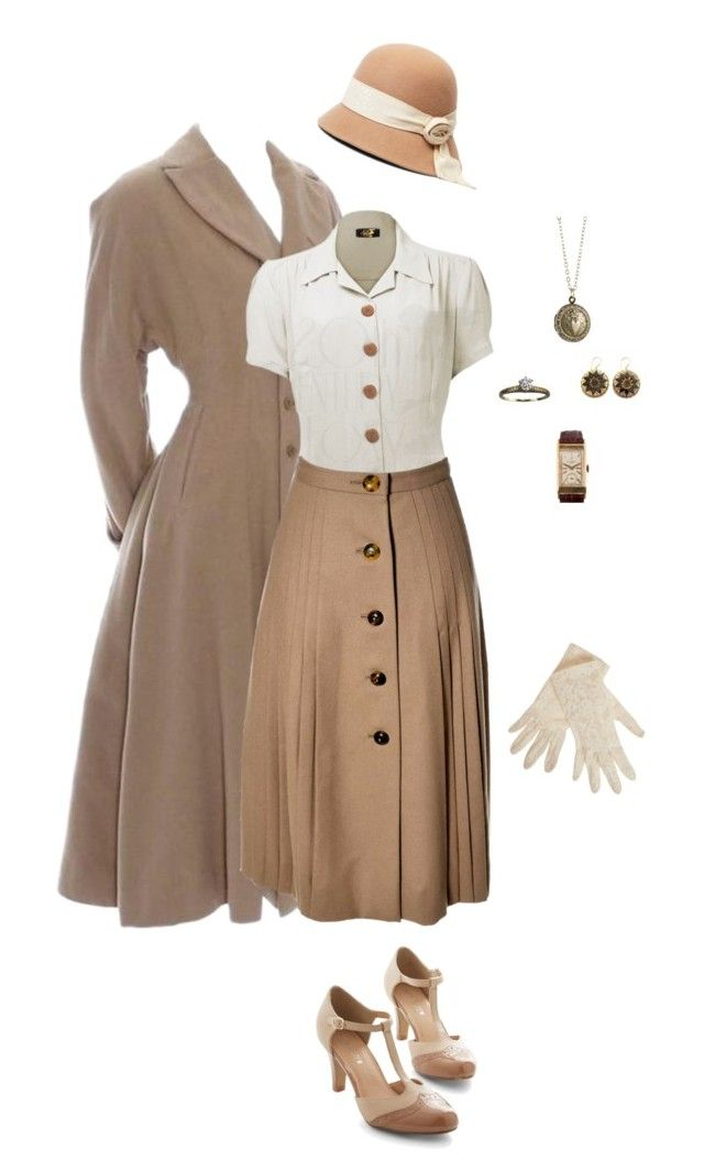 """""""Life In The 40's"""" by gone-girl ❤ liked on Polyvore featuring Valentino, Brooks Brothers, Chelsea Crew, Patek Philippe, Alexis Bittar, Zara Taylor, 1940, 40s, 1940s and WWII"""