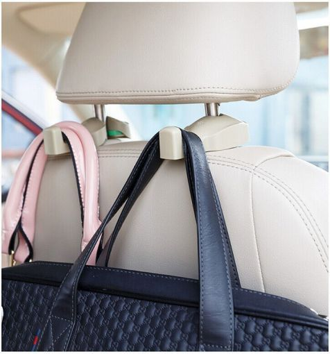 eBay Find - A hook that attaches to rods in the headrest, that you can then use to hang your purse, groceries, or anything else you would rather not have rolling around in the backseat - site has 18 other ideas for an organized auto...