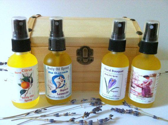 5 Piece Gift SetOrganic Perfume Dry Body Oil by planetearthoils, $105.00