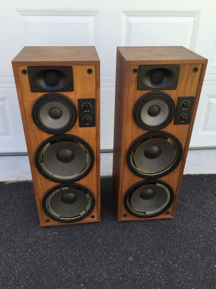 Vintage Mid Century Modern Pair Of Walnut Floor Speakers