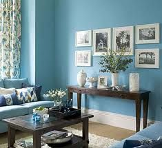 blue walls with distressed wood and white