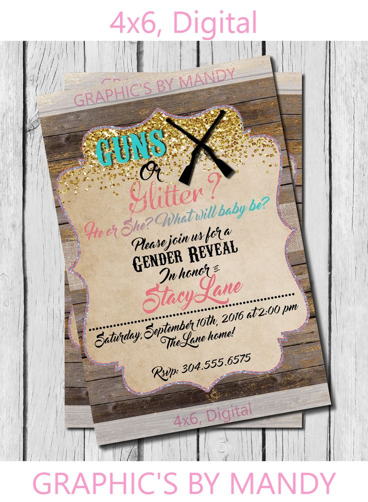 Gender Reveal! Guns or Glitter! Invitation!