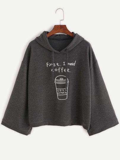 Sudadera con capucha y estampado de café - gris oscuro