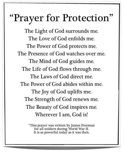 Prayer for Protection - Just as relevant today as it was when written for soldiers during WWII.