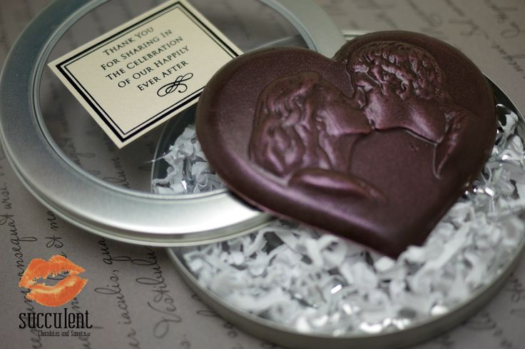 Valentine's day might be over but it's never too late to say I love you with chocolate! Custom heart shaped chocolate bar for our clients wedding favors.
