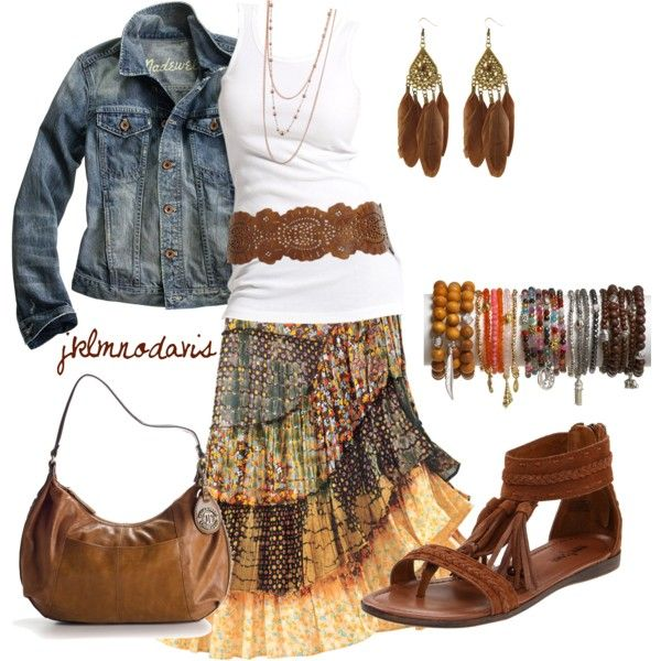 Layered gypsy style skirt with a white tank, modern hippie belt and boho chic jean jacket with stacking bangles. For MORE Bohemian fashion trends FOLLOW http://www.pinterest.com/happygolicky/the-best-boho-chic-fashion-bohemian-jewelry-gypsy-/ by @HappyGoLicky Custom Silver Jewelry on Etsy