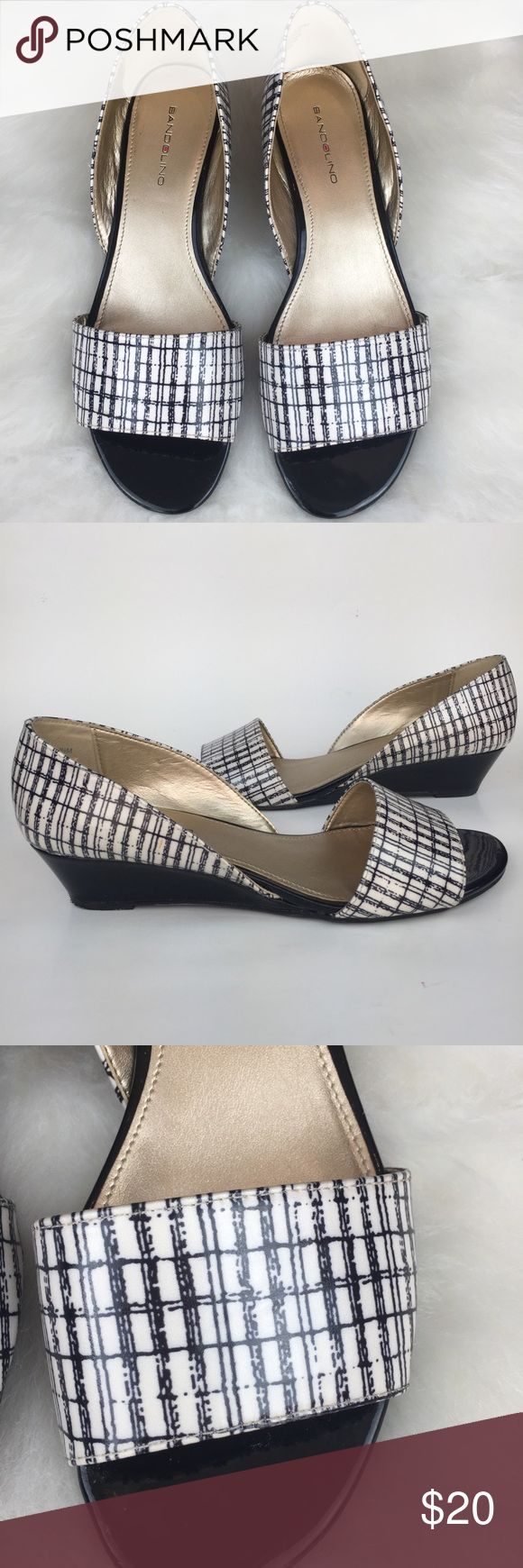 "Bandolino black and white wedges Bandolino black and white patent D'orsay flats in excellent condition!  Heels measure 1 1/2"".    (CCP1) Bandolino Shoes Wedges"