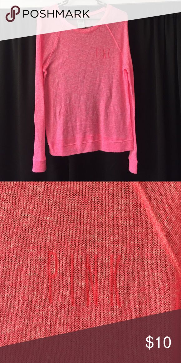 Hot pink sweater from PINK Victoria's Secret! This hot pink sweater is perfect for the upcoming colder days. PINK Victoria's Secret Sweaters Crew & Scoop Necks