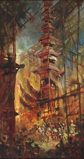 BALINESE CEREMONY ~ artist ĀBasuki Abdullah (b1915, Sriwedari, Surakarta, Indonesia)