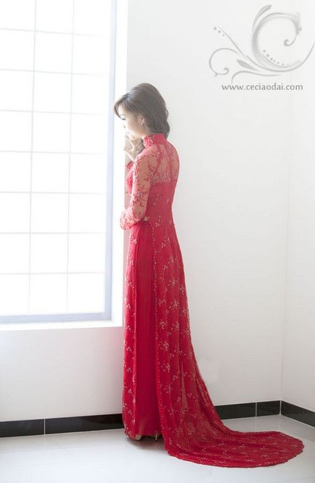 Elegantly soft touch red lace ao dai dress with red glass-beads on floral pattern. - Ceci Ao Dai & Formal Dresses, Bridal Wear Retailers, Fairfield, NSW, 2165 - TrueLocal
