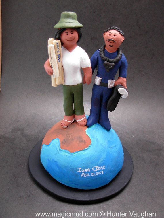 Globetrotter's Wedding Cake Topper    Backpacking and Traveller's Wedding Cake Topper, custom created for you! Perfect for the marriage of a Travelling Groom and his Bride!    $235   #magicmud   1 800 231 9814   www.magicmud.com