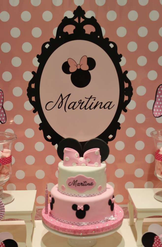 Minnie Mouse baptism party cake! See more party planning ideas at CatchMyParty.com!