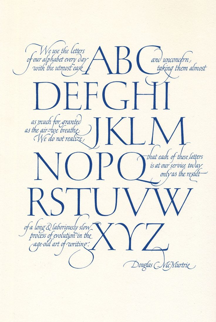 Hermann Zapf, detail of calligraphic broadside with quotation by Douglas C. McMurtrie, 1959. Produced by About Alphabets, 1960. Via eyeondesign.aiga