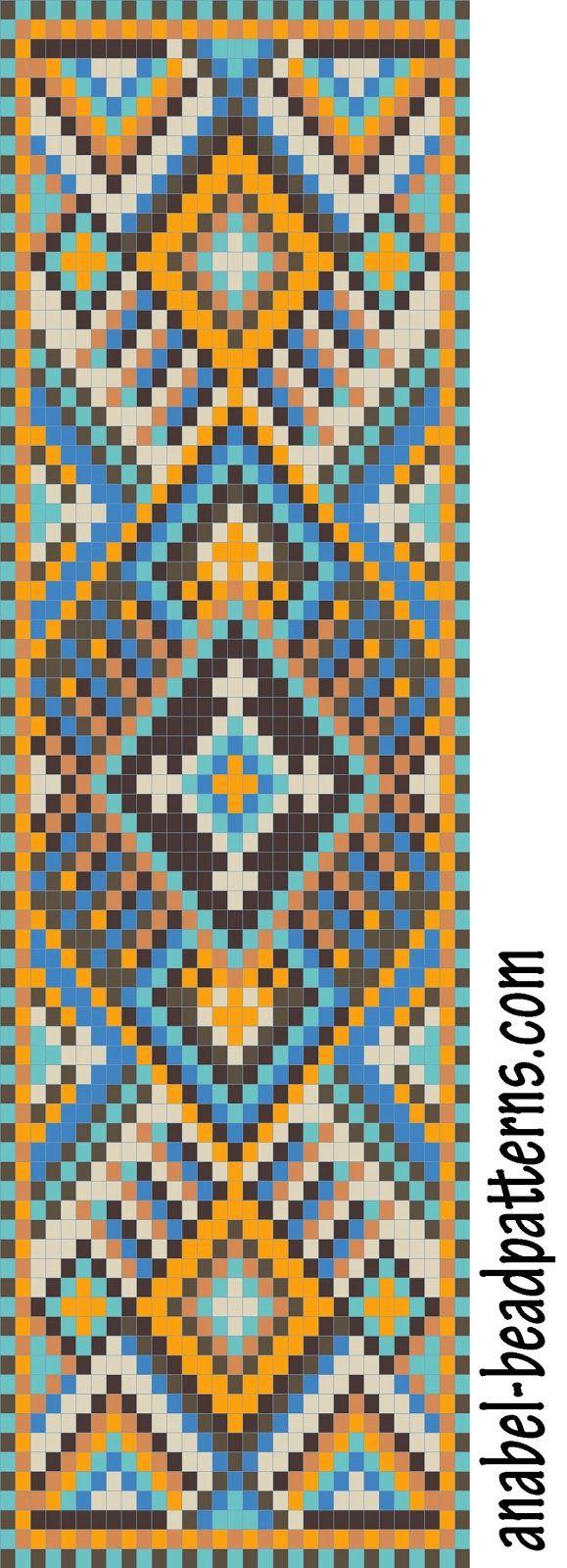Схема широкого браслета с орнаментом - станочное ткачество / гобеленовое плетение