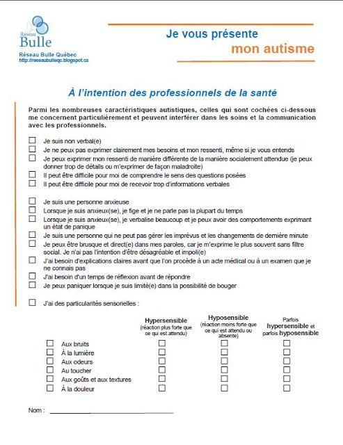 Réseau Bulle Québec: Nouveau document - Je vous présente mon autisme