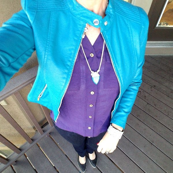 Turquoise and purple fall outfit.
