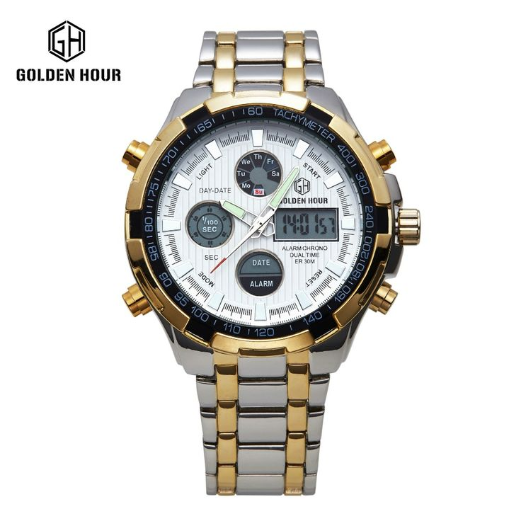 Hot Stainless Steel golden Watch Men Shark watch Analog Digital Alarm Display 3 ATM Water Resistant relojes deportivos hombres