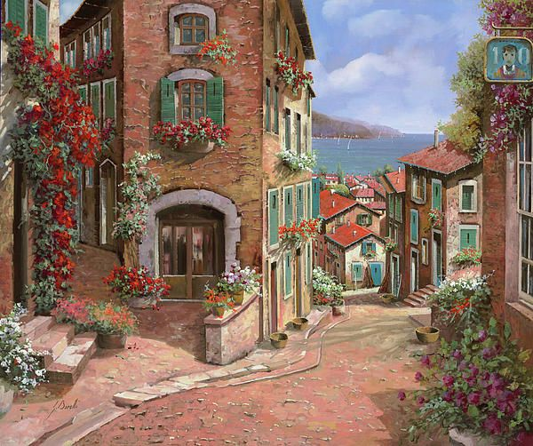 La Discesa Al Mare by Guido Borelli - La Discesa Al Mare Painting - La Discesa Al Mare Fine Art Prints and Posters for Sale