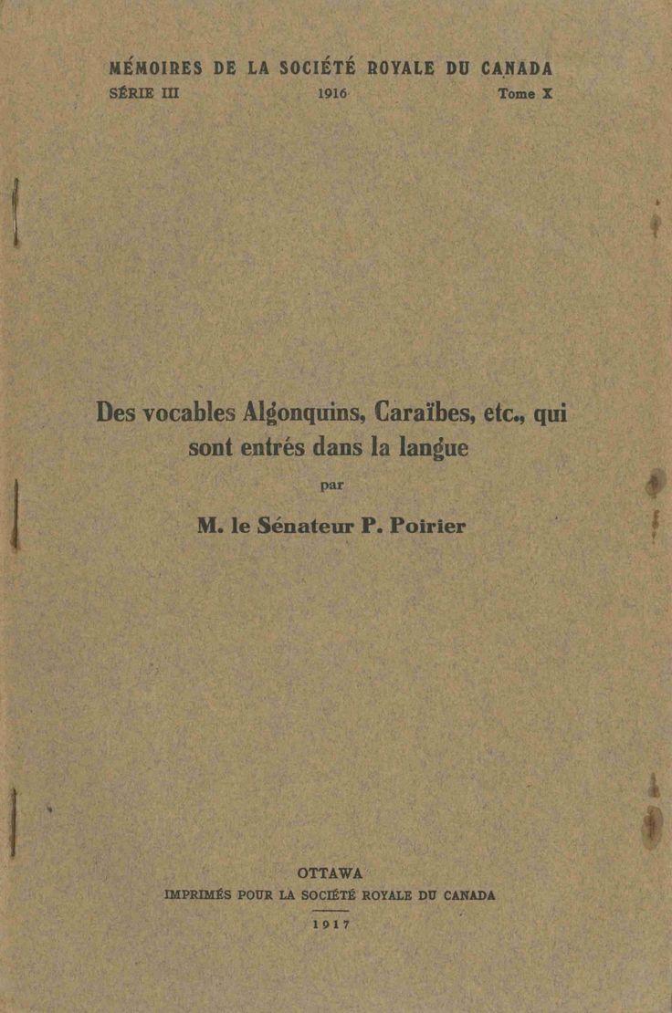 Pascal Poirier, Des vocables algonquins, caraïbes, etc., qui sont entrés dans la langue