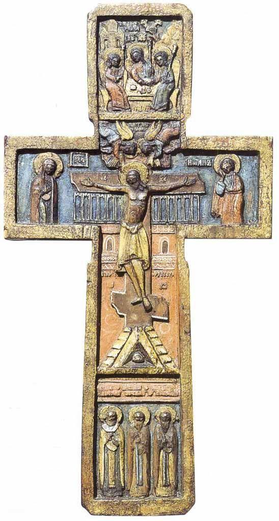 Икона-крест с изображениями: Распятие с предстоящими ; Ветхозаветная Троица ; Избранные святые Вторая половина XVII века.