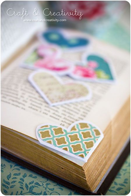 heart shaped corner bookmarks