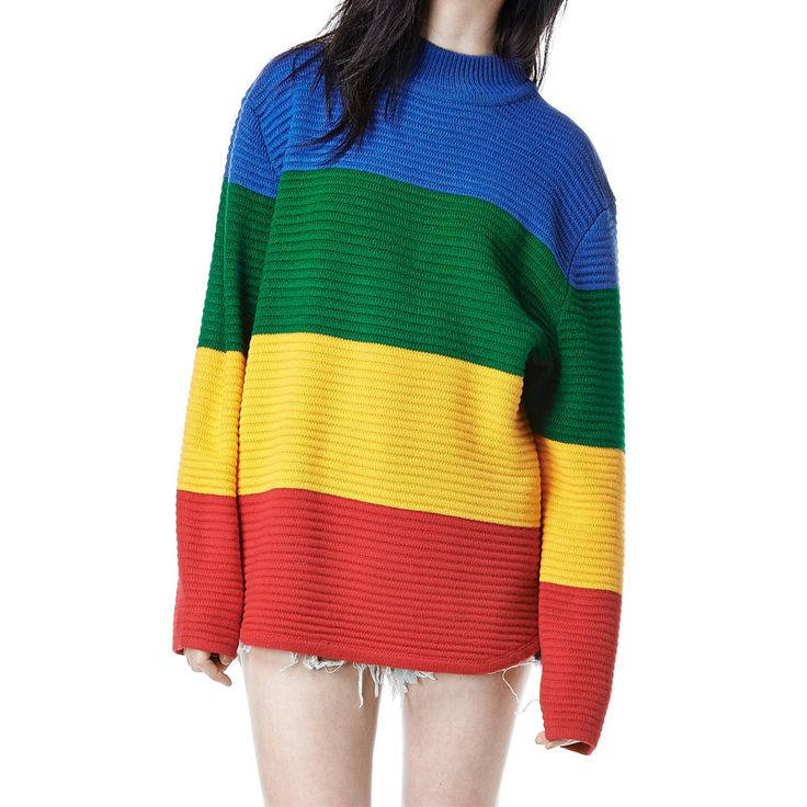 Unif Crayola Sweater Rainbow Color Block Knitted Loose Oversized Sweater Jumper Autumn Winter Women Pullovers Sweater 15113002