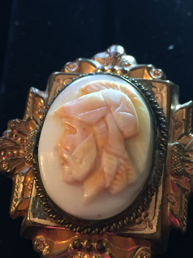 Antique hand carved hard stone male Roman warrior cameo rolled gold pendant left facing by MeAndMoma on Etsy