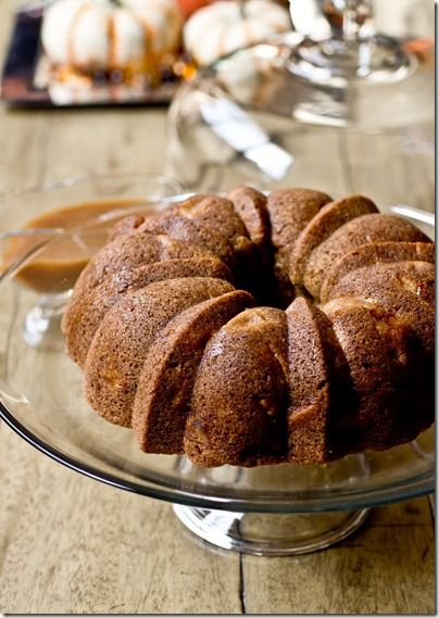 Vanilla Bean Apple Bundt Cake with Vanilla Bean Caramel Sauce