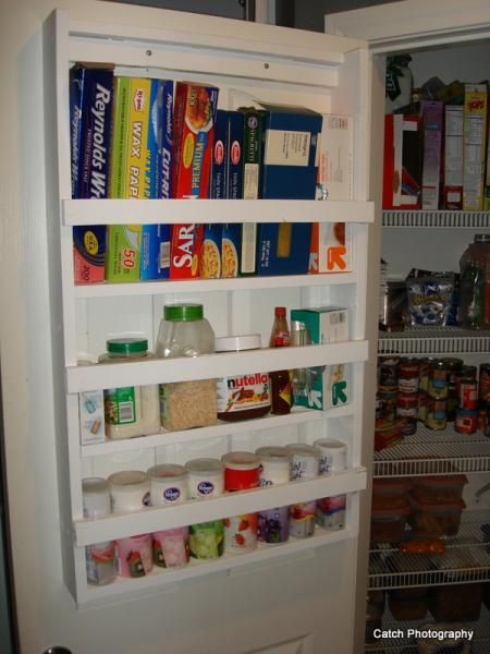 Pantry organization kitchen cabinet interiors for Diy pantry door organizer