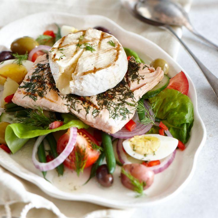 Salade niçoise pour 4 au saumon grillé et Le Pont Tournant fondant
