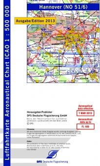 1850 51/6 #ICAO-Karte #Hannover 2014 mit Folie #Luftfahrtkarte