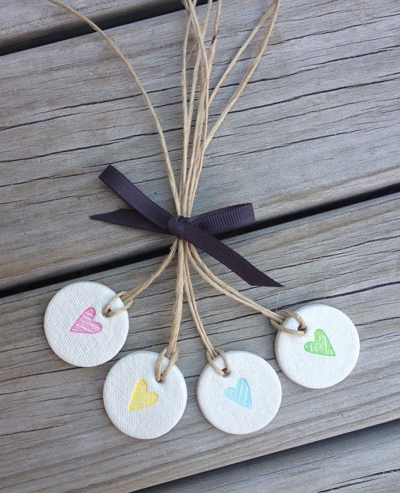mini heart clay tag buttons {set of 4}
