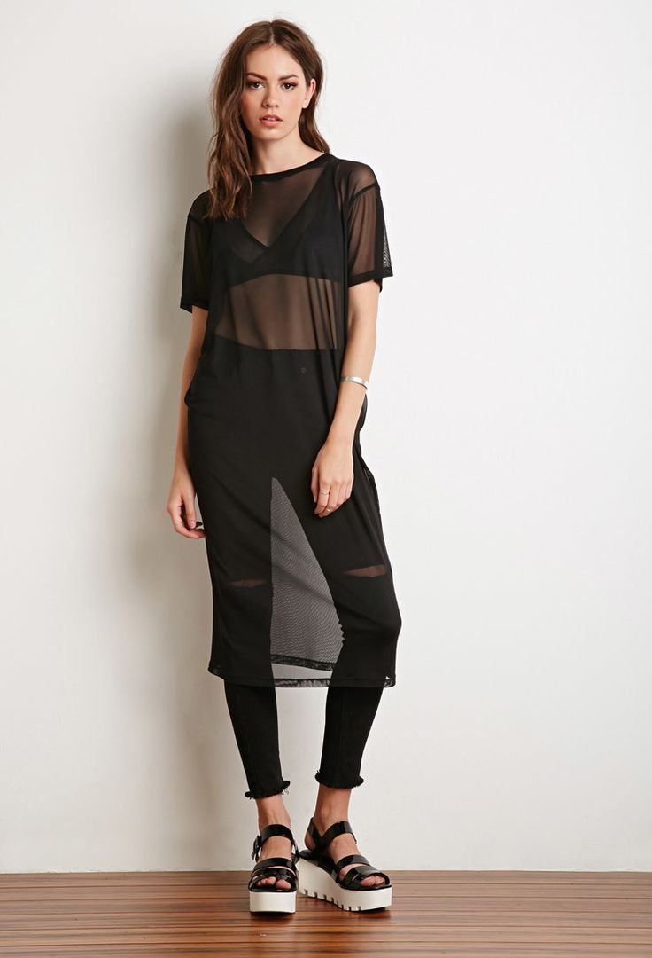 Mesh Midi T-Shirt Dress