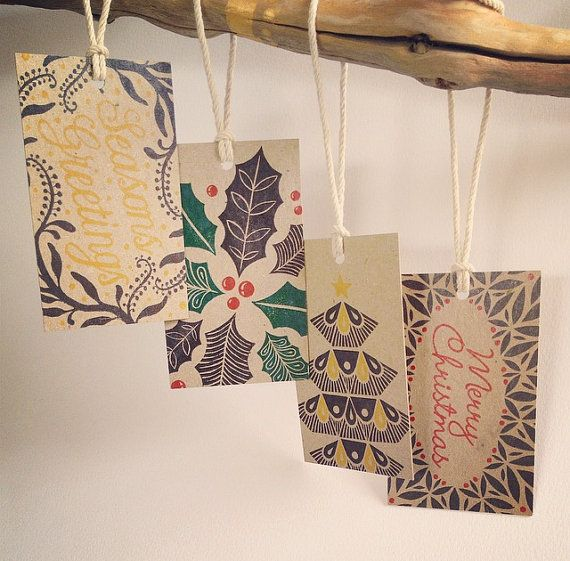 Set of 4 Christmas gift swing tags including our four tag designs: - Scattered Holly  - Seasons Greetings Wattle Wreath  - Merry Christmas Wreath  - #recycled #christmas #gifttags
