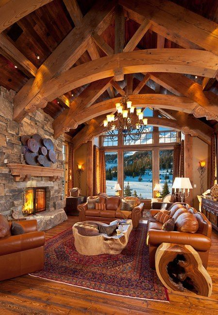 Rustic country cabin Living room with natural tree slice tables