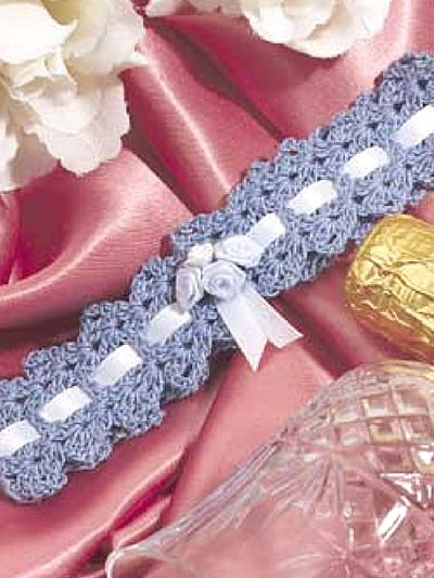 Something Blue  Give the bride-to-be this pretty blue garter to wear on her wedding day!  Designed by Emma L. Willey  free pdf from free-crochet.com