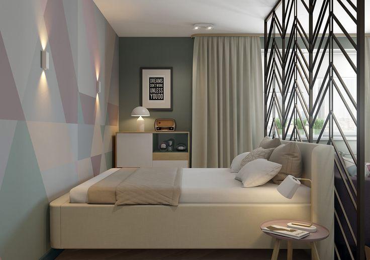 Спальня в дизайн-проекте 1-комнатной квартиры