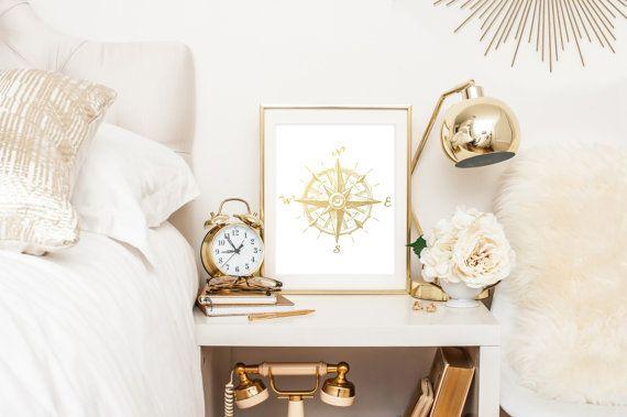 Nautischer Kompass Goldfolien-Print der von AdamsAleArtPrints
