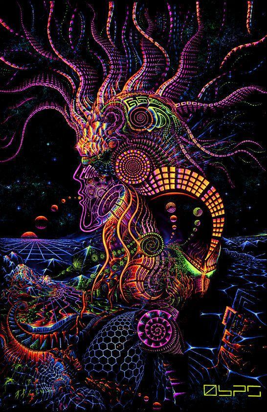 UV Backdrop Fluoro Runner Psy Deko Wandbehang 1m x 1,5m Hippie Goa Tuch Kunst